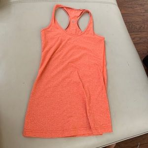 Orange Lululemon tank top workout gym 4